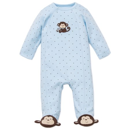 Monkey Coverall (Monkey Star Snap Front Footie Pajamas For Baby with Cute Monkey Feet Boys Sleep N Play One Piece Romper Coverall Cotton Infant Footed Sleeper; Pijamas Para Bebes - Blue - Preemie )