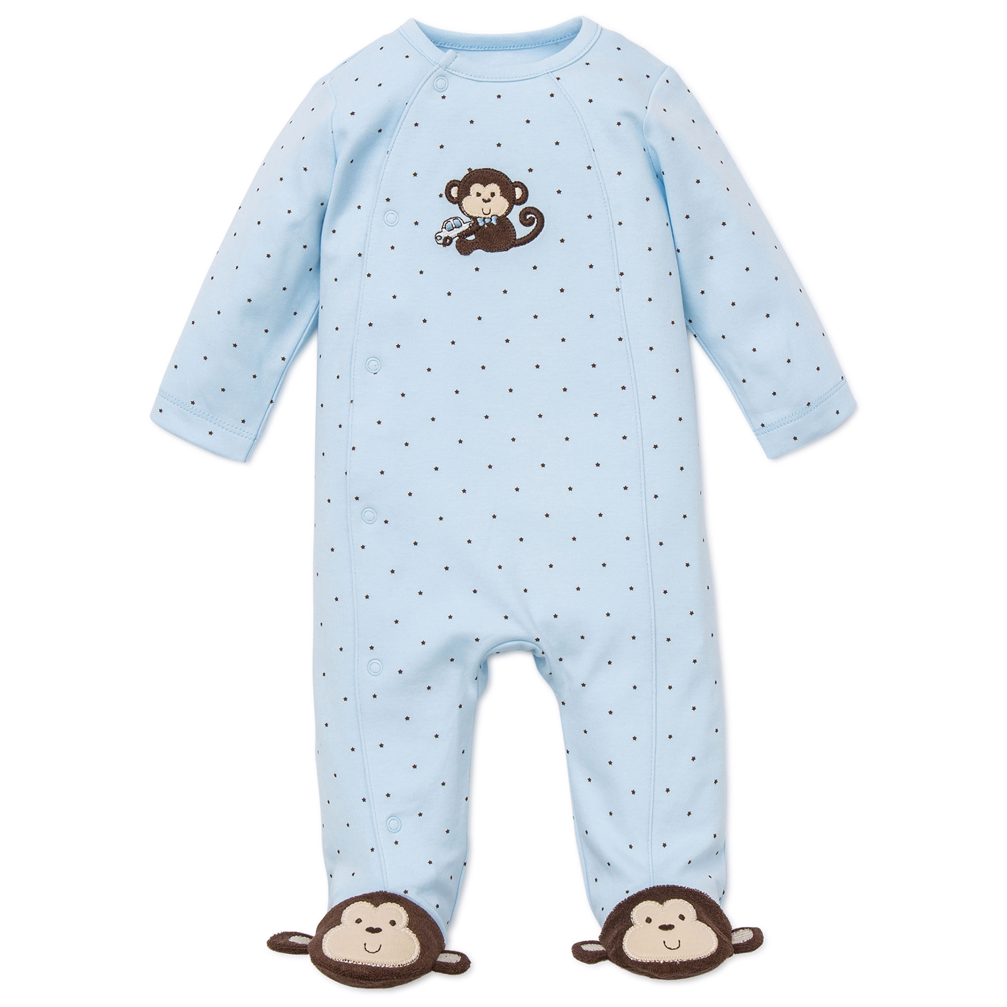 Monkey Star Snap Front Footie Pajamas For Baby with Cute Monkey Feet Boys Sleep N Play One Piece Romper Coverall Cotton Infant Footed Sleeper; Pijamas Para Bebes - Blue - Preemie
