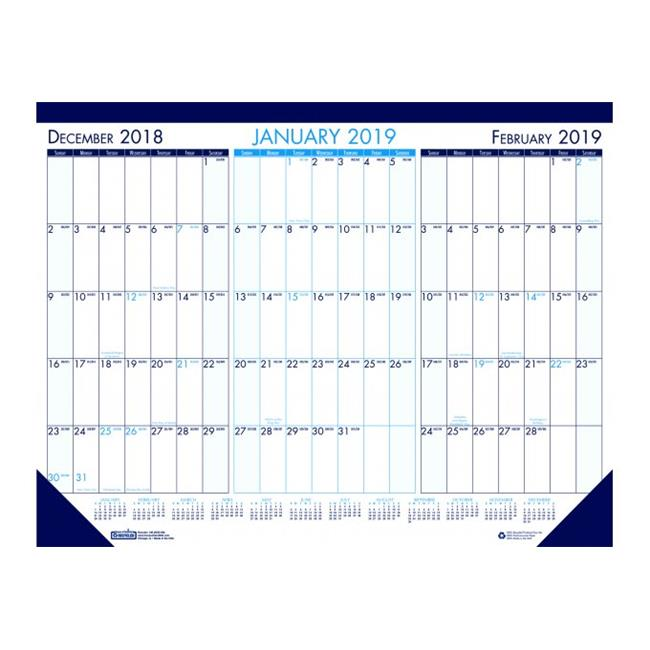 House of Doolittle HOD136 3 Month Per Sheet Desk Pad Calendar, Blue Leatherette Headband - 12 Sheets