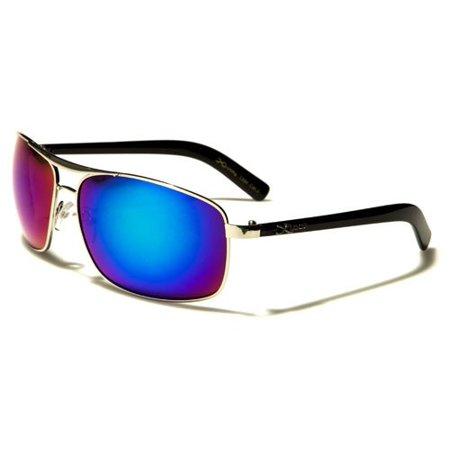 Men's Metal Frame Plastic Arms X-Loop Aviator Style Sunglasses - (Loop Sunglasses)