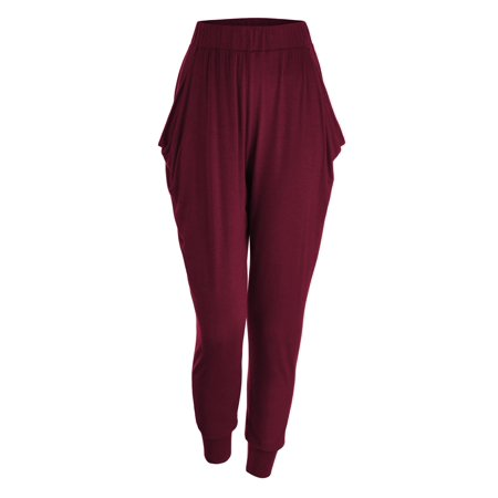 MBJ WB1372 LL WB1372 Womens Solid Color Fitness Yoga Harem Pants with Pockets L WINE