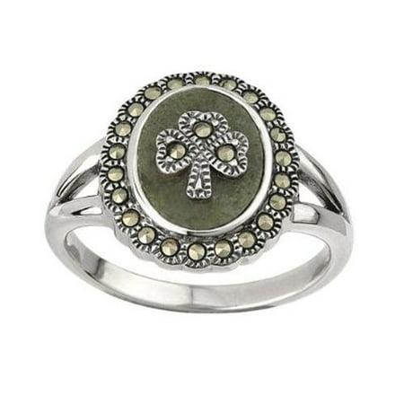 Shamrock Ring Connemara Marble & Marcasite Sz 7