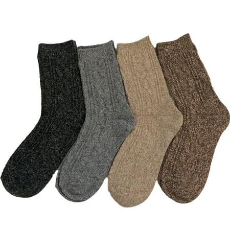 Lovely Annie Women's 4 Pairs Pack Fashion Soft Wool Crew Socks Size 6-9 AHR1613-4P4C-1(Grey, Dark Grey, Tan, - Soft Wool Socks