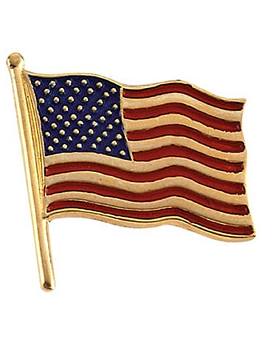 14K Yellow Gold Flag Red White Blue Pin Brooch by
