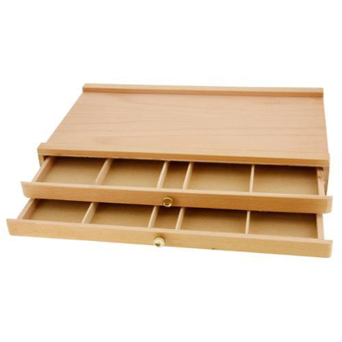 US Art Supply® 2-Drawer Artist Wood Pastel, Pen, Marker Storage Box