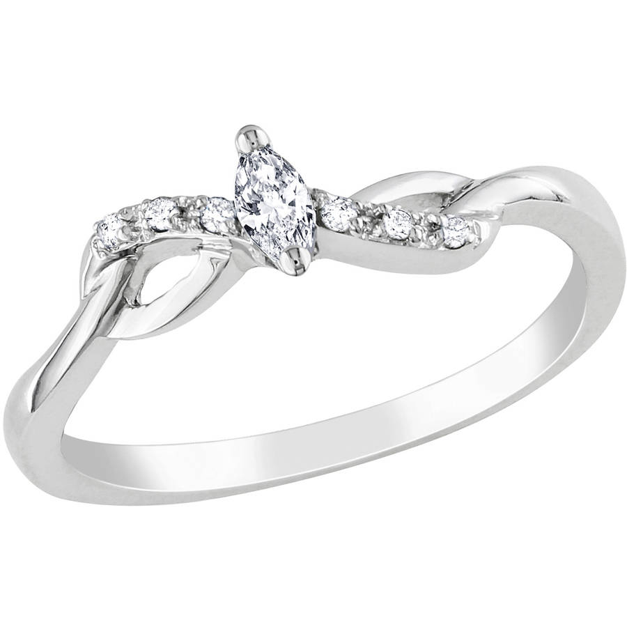 Miabella Marquise and Round-Cut Diamond Accent 10kt White Gold Promise Ring