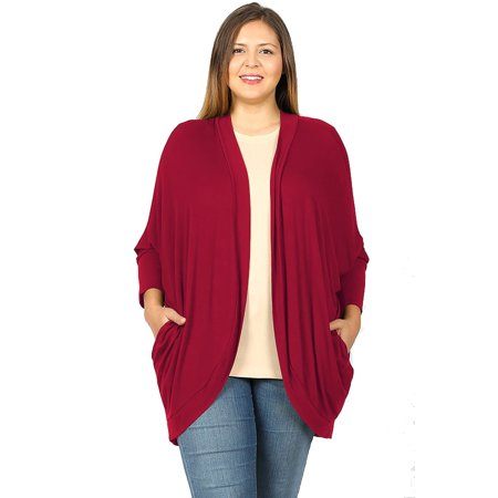 JED FASHION Women's Plus Size Cocoon Wrap Soft Knit (Cocoon Cardigan)