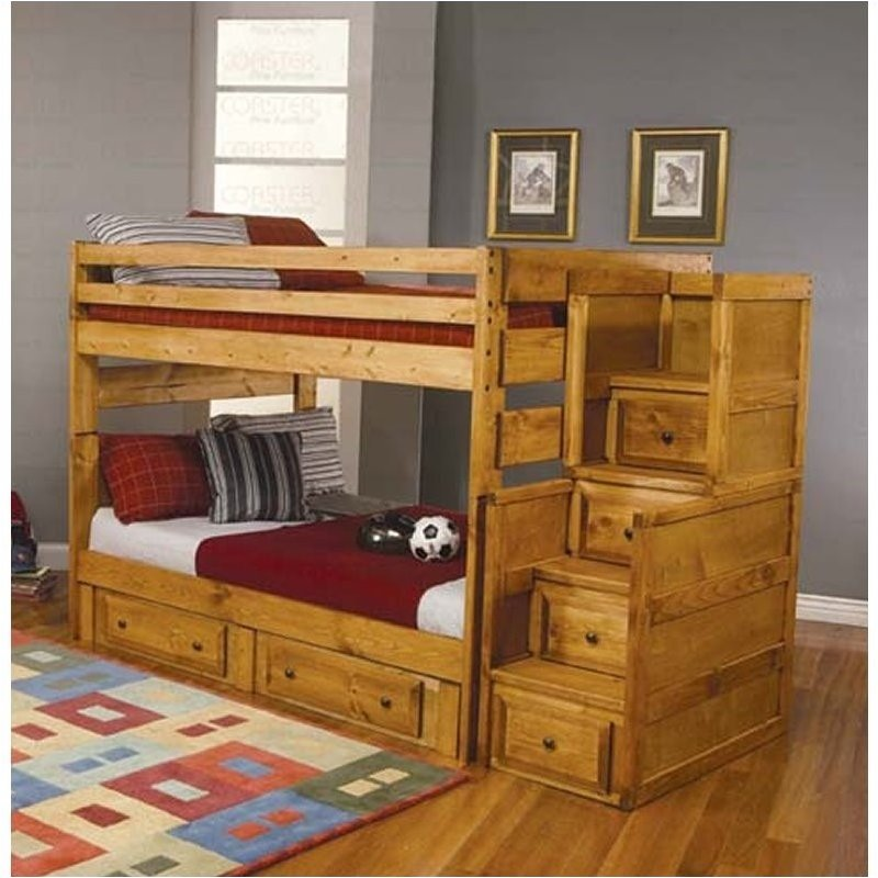 Bowery Hill Full Over Full Wood Bunk Bed in Amber Wash