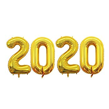 42 Inch 2020 Gold Foil Number Balloons for 2020 New Year ...
