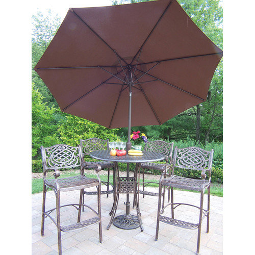 Oakland Living Elite Mississippi Bar Height Dining Set with Umbrella