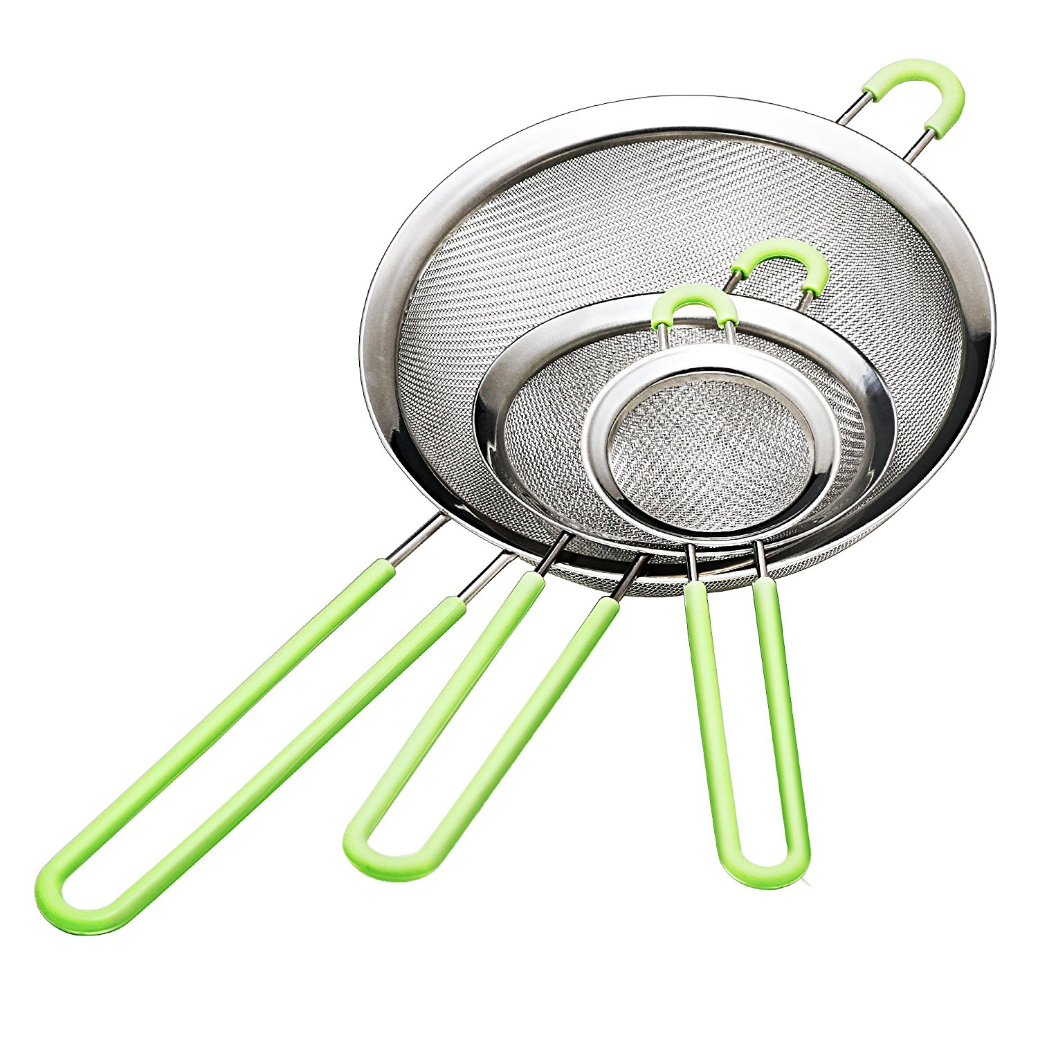 IPOW Grease Strainer Fine Mesh Colander with Handle Cooking Oil Strainers and Colanders Set of 3 Stainless Steel Juice Sieve Strainer Mesh Food Spider Ladle Flour Sifter Skimmer, Silver