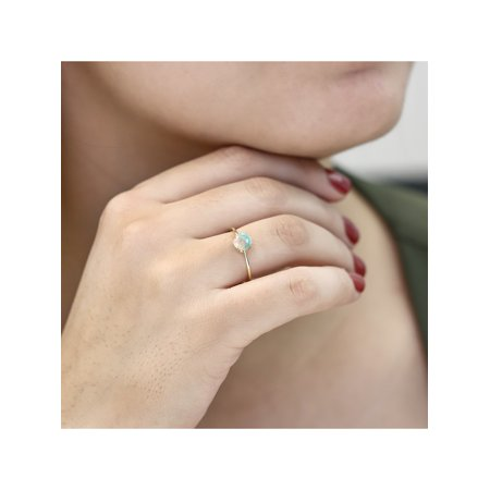 10K Yellow Gold 1.00 Ct Round Cabochon White Simulated Opal Solitaire Ring - image 1 of 5