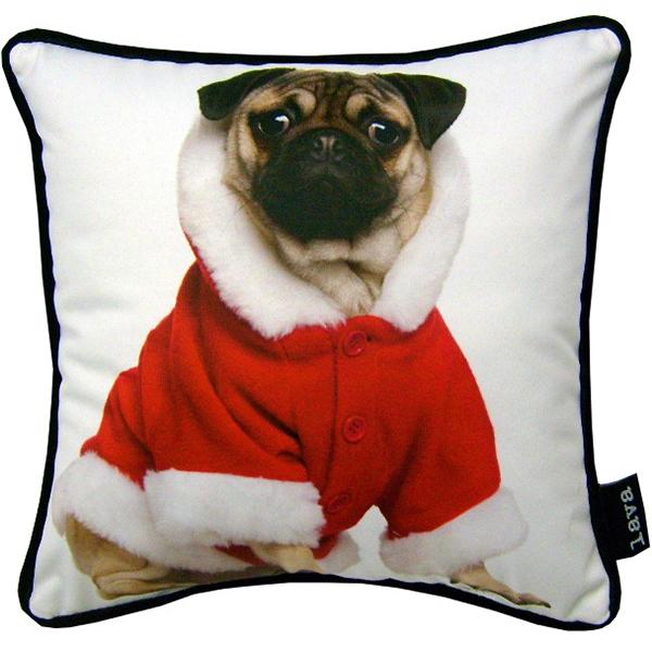 "lava Christmas Pug Jacket Pillow, 12"" x 12"" by Lava"