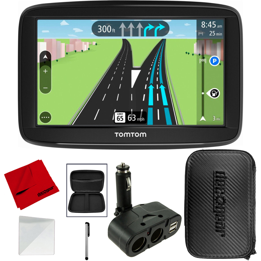 "TomTom Automobile Portable 5"" GPS Navigator With Lifetime Maps (1AA5.019.00) with Hard 7"" EVA Tablet/GPS Case, USB/DC Car Charger, Stylus, Screen Protector, Cloth"