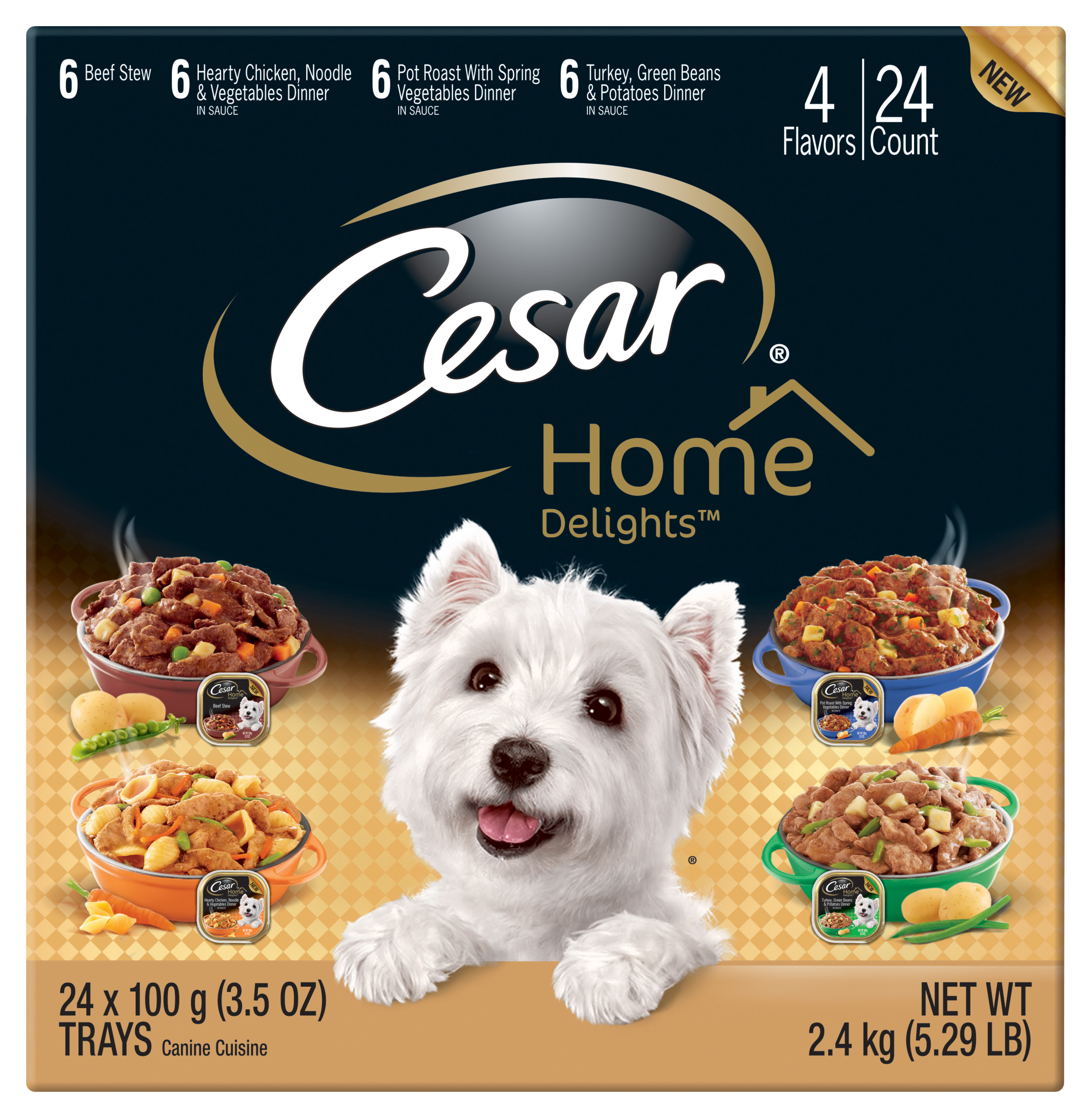 CESAR HOME DELIGHTS Wet Dog Food Variety Pack, (24) 3.5 oz. Trays