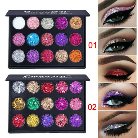 DZT1968 2Pcs Shimmer Glitter Eye Shadow Powder Palettes Matte Eyeshadow Cosmetic Makeup - Halloween Makeup With Glitter