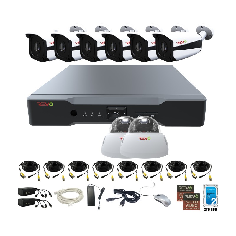 RevoAmerica Aero HD 8 Ch. Video Security System with 8 Indoor/Outdoor 5 Megapixel Cameras