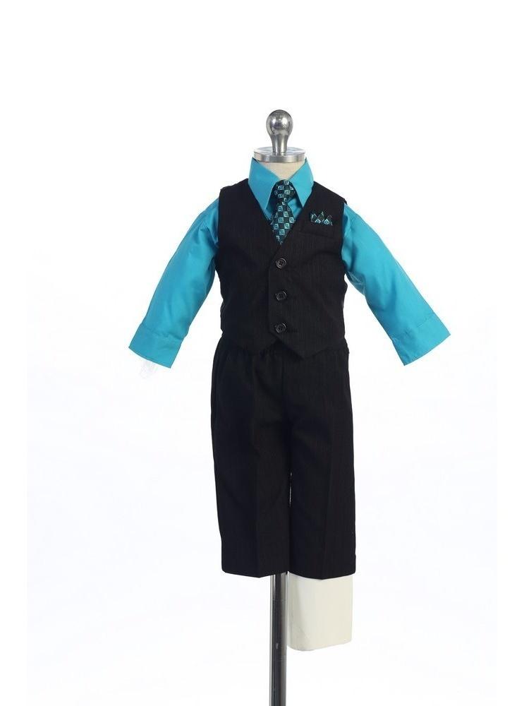 Angels Garment Turquoise 4 Piece Pin Striped Vest Set Boys Suit 5-20