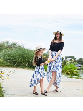 a6116ff5c4f0 Product Image Mommy and Me Family Matching Dresses Off Shoulder Ruffle  Floral Midi Dress Half sleeve Asymmetrical Hem