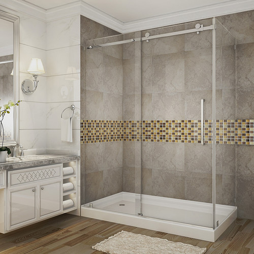 """Aston SEN976-TR-SS-60-10-R Stainless Steel 60"""" x 35"""" x 77-1/2"""" in Completely Frameless Sliding Shower Door Enclosure with Base Right Drain"""