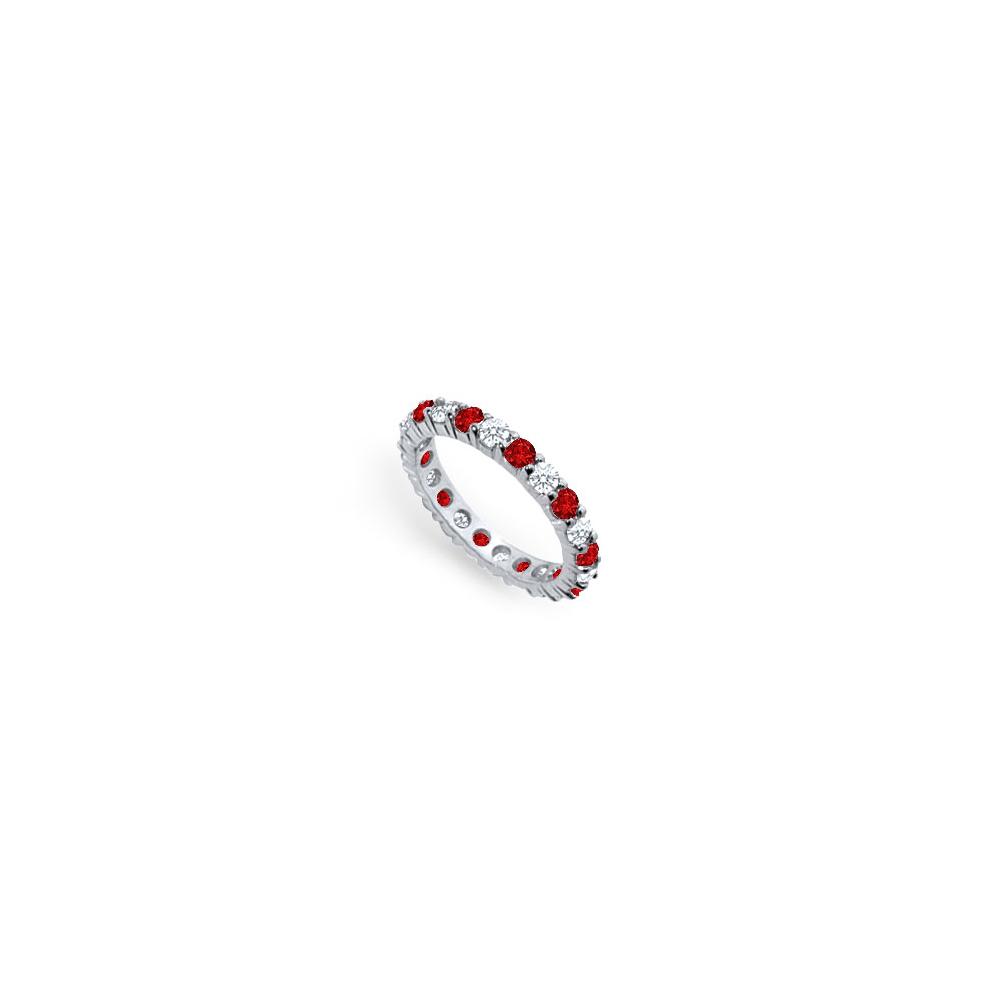 Diamond and Ruby Eternity Band Platinum 2.00 CT TGW - image 2 of 2