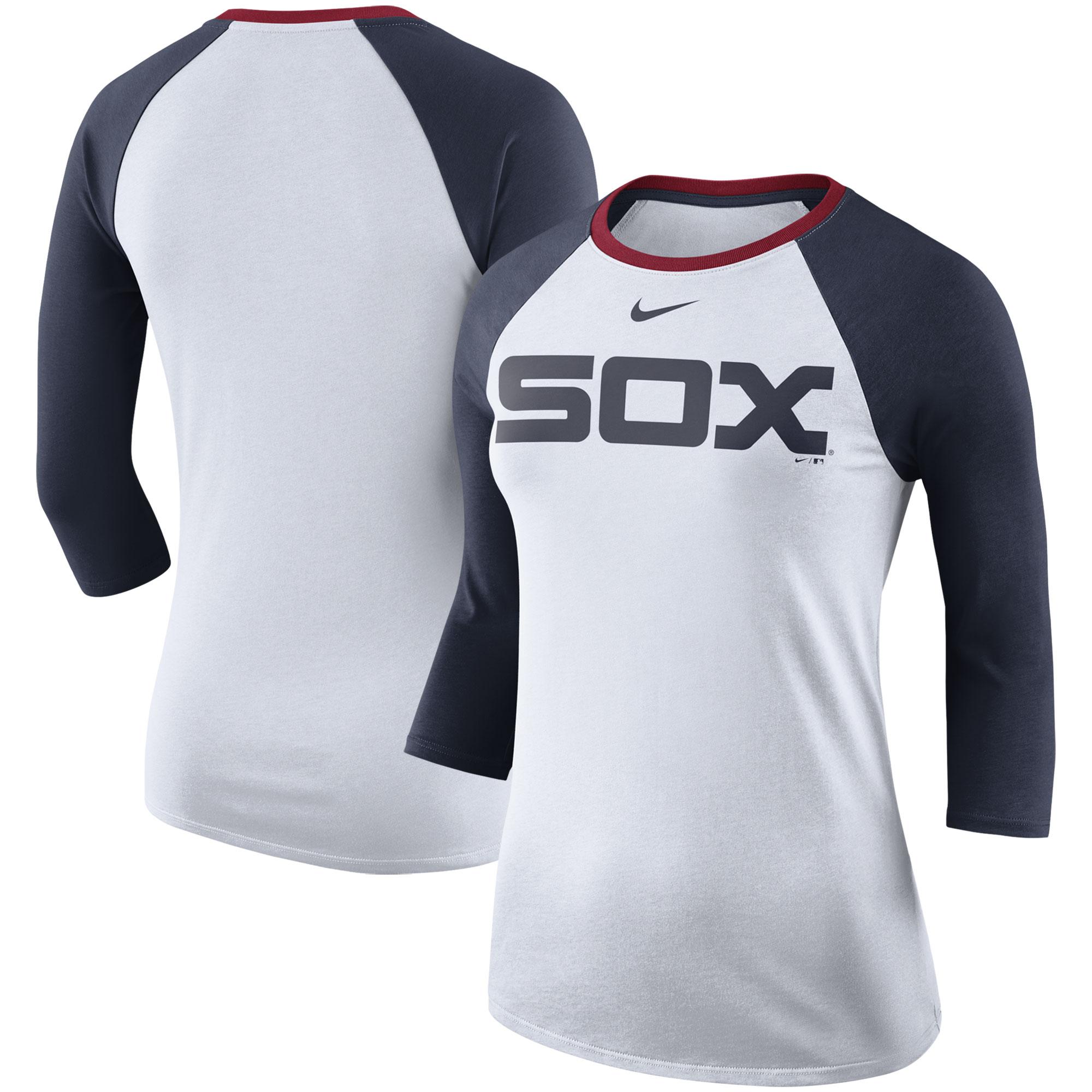 Chicago White Sox Nike Women's Tri-Blend Raglan 3/4-Sleeve T-Shirt - White/Navy
