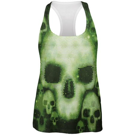 Halloween Cyber Space Alien Skull All Over Womens Work Out Tank Top
