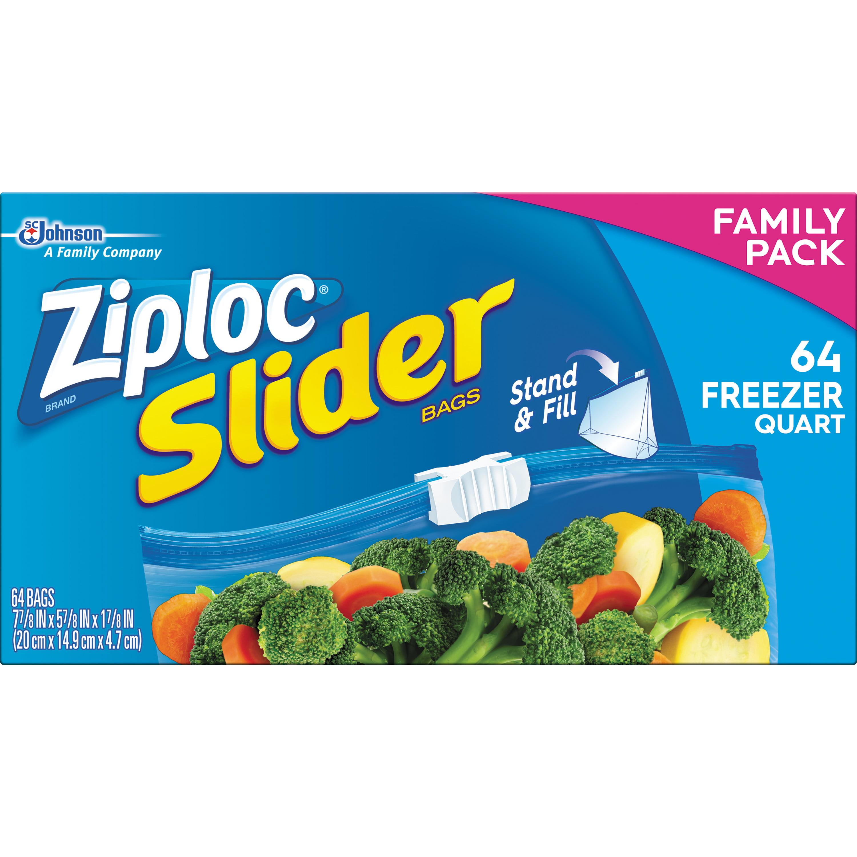 Ziploc Slider Freezer Quart Family Pack 64 Count