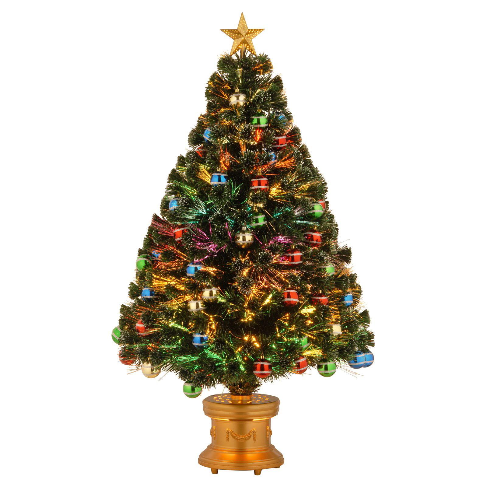 "Blue And Green Christmas Tree: National Tree Pre-Lit 48"" Fiber Optic Fireworks Glittered"