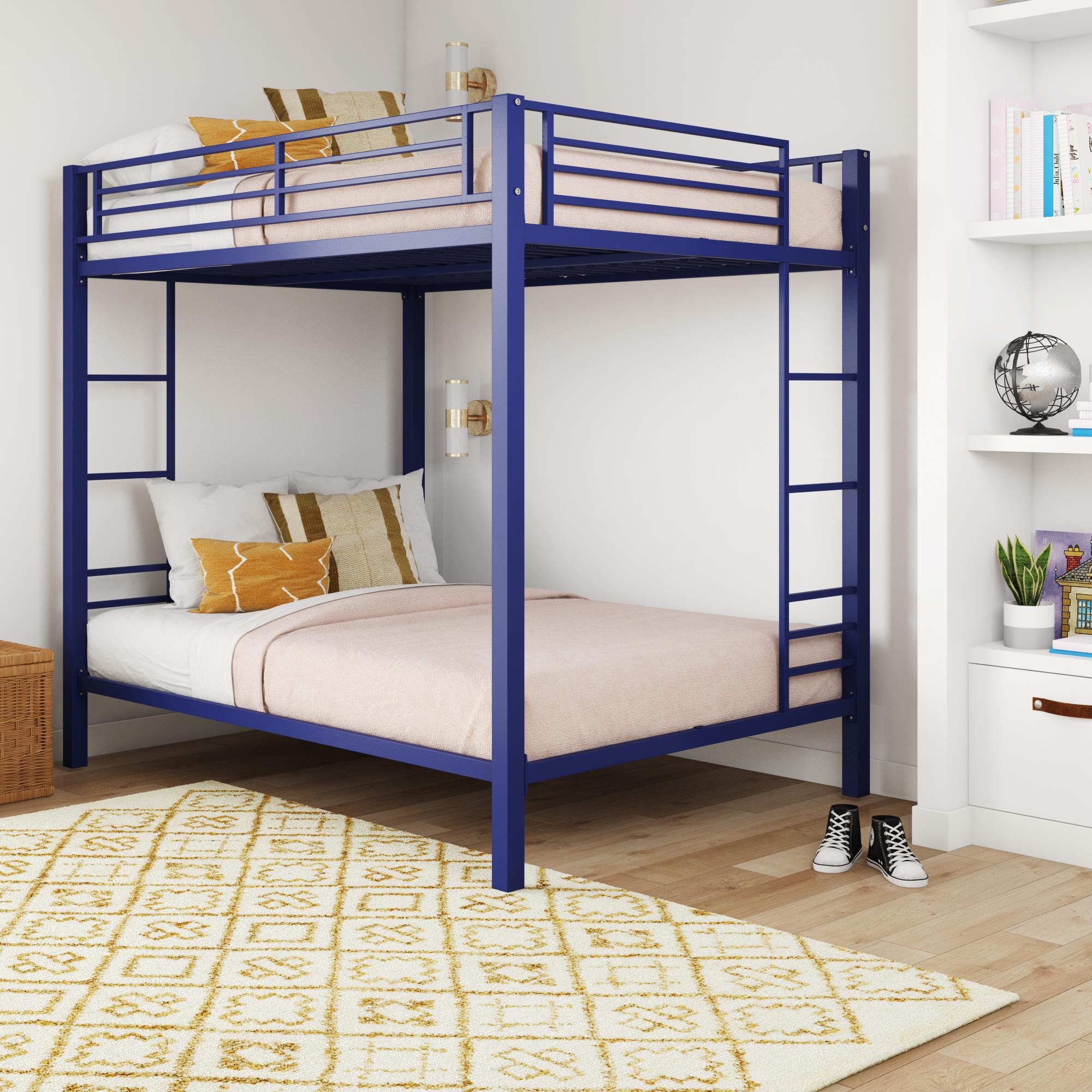 Dhp Full Over Full Bunk Bed For Kids Metal Frame With Ladder Blue Walmart Com Walmart Com
