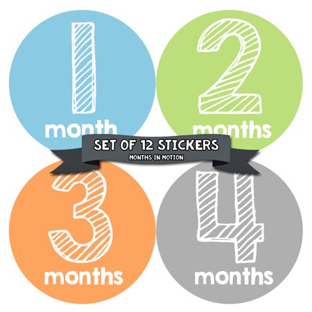 Months In Motion Monthly Baby Milestone Stickers | Newborn Boy Photo Prop Month Sticker](Photo Ideas For Newborn Boy)