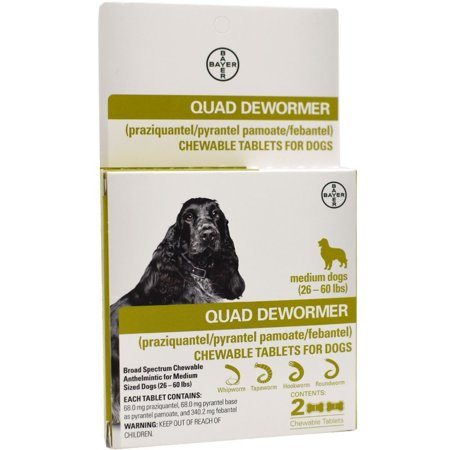 Bayer Quad Dewormer for Medium Dogs, 2 Chewable Tablets