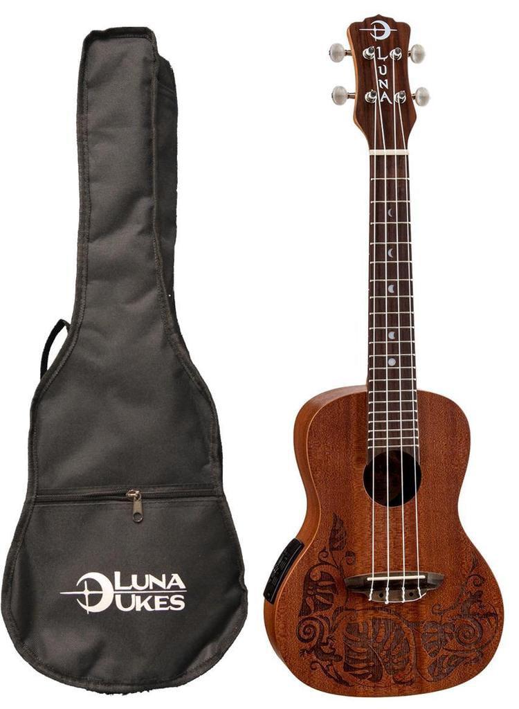 Luna Mahogany Series Mo'o Acoustic-Electric Concert Ukulele, UKE MO EL by Luna