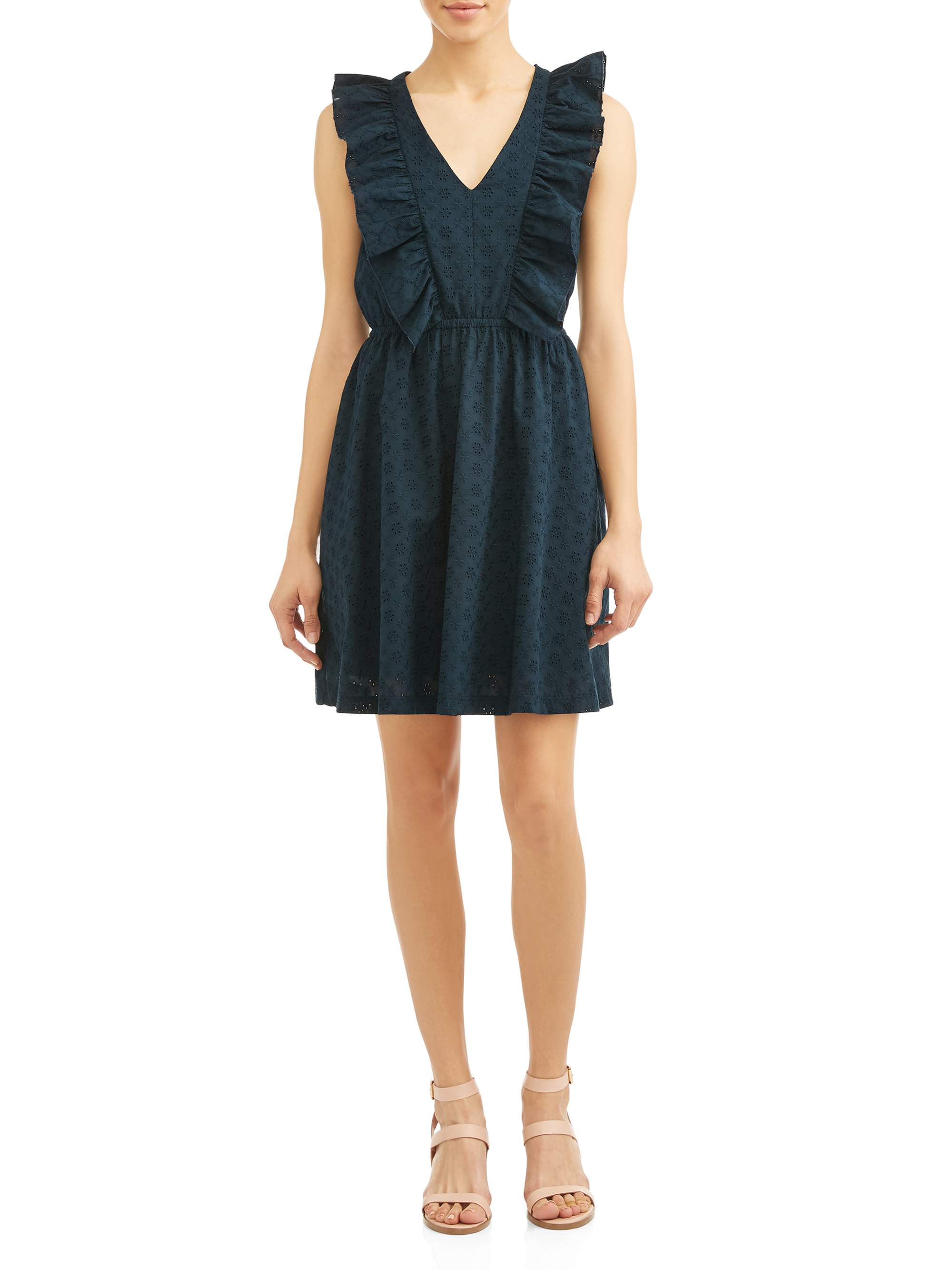 Eve Sleeveless Ruffle Vee Dress Women's