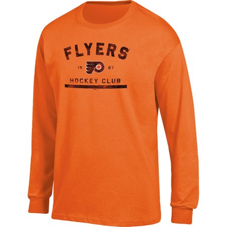 Philadelphia Flyers Ice (Men's Orange Philadelphia Flyers Spine Hit Long Sleeve T-Shirt)