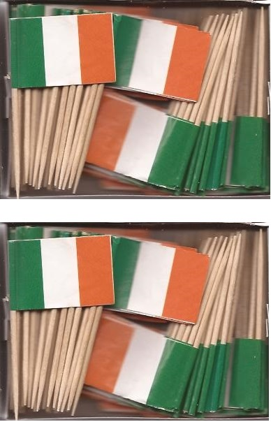 2 Boxes of Mini Ireland Toothpick Flags, 200 Small Irish Flag Toothpicks or...