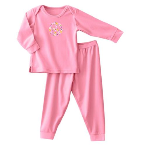 Halo Innovations 2089 3 - 6 Months ComfortLuxe Sensitive Skin Sleepwear Two Piece Set - Flannel Feel Pink Peace