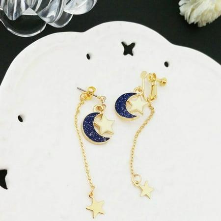 Fancyleo Women Girls Star Moon Shape Long Earrings Pierced Rhinestone Stud Dangle