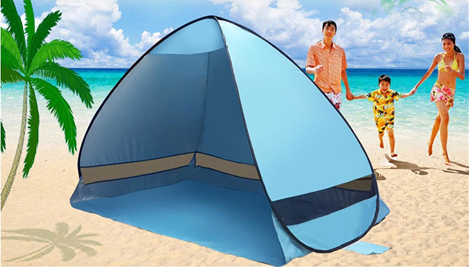Outdoor 2-3 Persons Sun Shelter, Portable Pop Up Instant Cabana Canopy Anti-UV Sun Shade for Camping Fishing Picnic... by