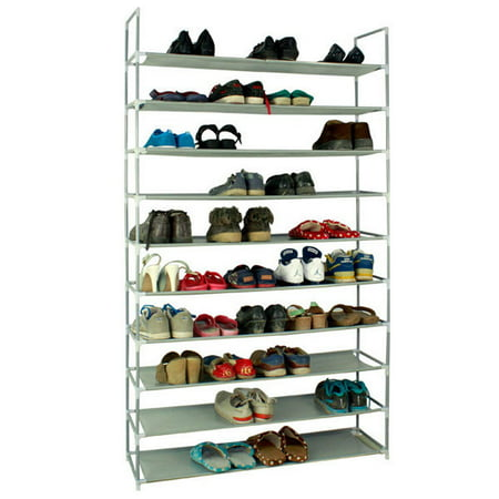 """10 Tier Shoe Organizer for Closets, Shoe Storage, Non-woven Fabric Shoe Shelf, Heavy Duty Boot Rack with Metal Tubes, Rustproof Shoe Stand for Entryway Foyer, 39"""" x 11"""" x 71"""", Gray, Q4220 thumbnail"""