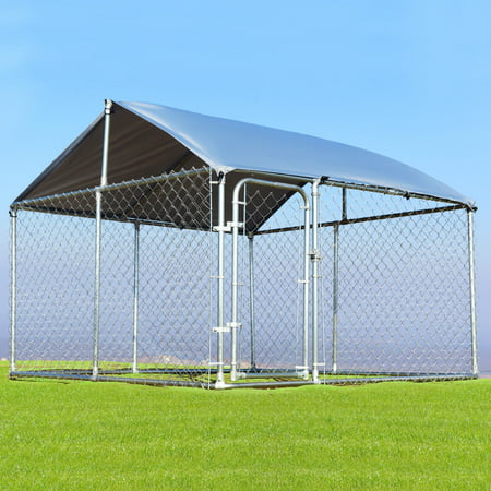 Gymax Large Pet Dog Run House Kennel Shade Cage 7 5 X7 5