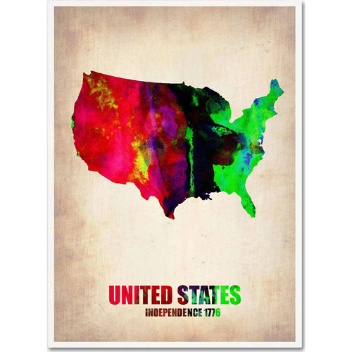 "Trademark Fine Art ""United States Watercolor Map"" Canvas Art by Naxart"