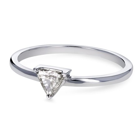 Kobelli 14k White Gold 1/6 Carat Triangular Diamond Petite Ring (H-I, SI)
