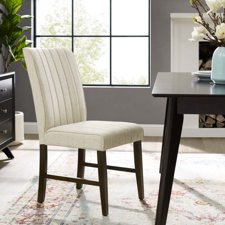 Motivate Channel Tufted Upholstered Fabric Dining Side Chair in Beige ()