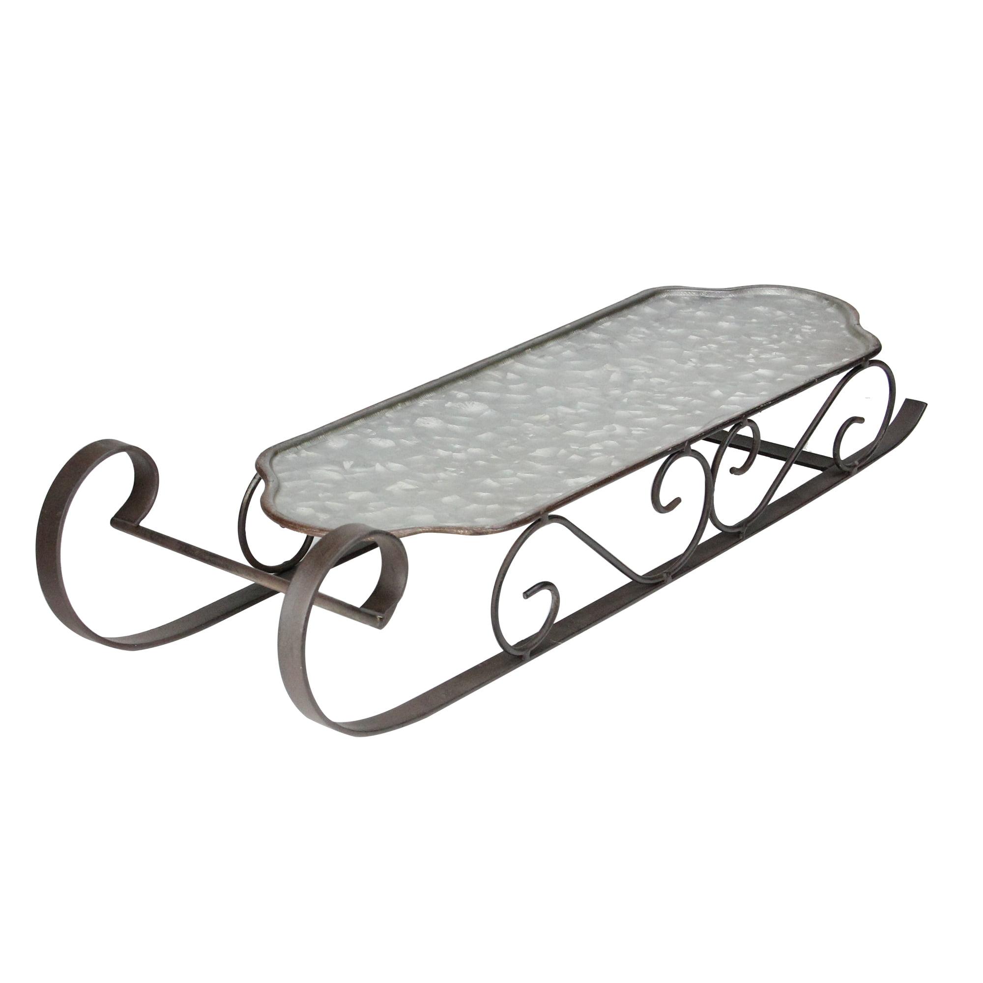 "Ganz 22"" Galvanized Metal Christmas Sled Table Centerpiece - Gray/Black"