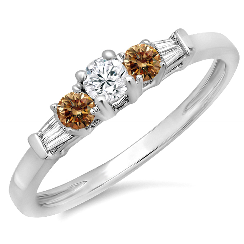 0.45 Carat (ctw) 14K Gold Round & Baguette Cut Champagne & White Diamond 3 Stone Engagement Bridal Ring