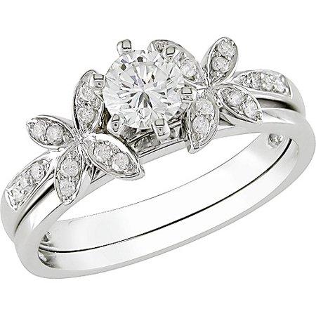 Miabella Round 5/8 Carat T.W. Diamond Bridal Ring Set in 10kt White Gold