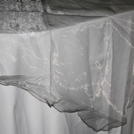 (Organza Table Cover Overlay, 80-inch, Silver)