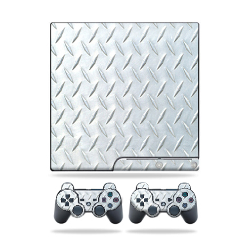 Skin Decal for Sony Playstation 3 PS3 Slim + 2 controllers sticker Diamond Plate