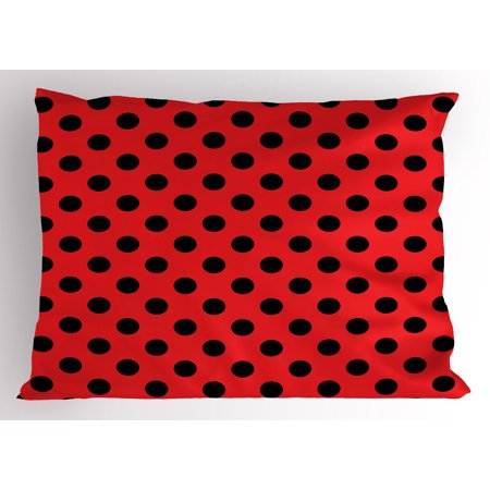 Red and Black Pillow Sham Retro Vintage Pop Art Theme Old 60s 50s Rocker Inspired Bold Polka Dots Image, Decorative Standard Queen Size Printed Pillowcase, 30 X 20 Inches, Scarlet, by Ambesonne - 50s Rocker